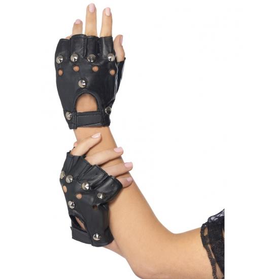 Punk Handschoen Zwart Met Zilver