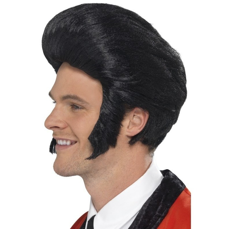 Rock and Roll Elvis herenpruik met zwarte kuif