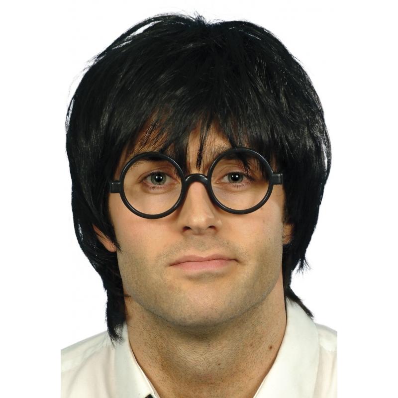 Zwarte korte pruik met bril heren